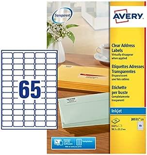 Avery J8551-25 Self-Adhesive Clear Mini/Return Address Labels, 65 Labels Per A4 Sheet