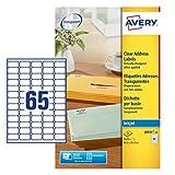 Avery J8551-25 Mini Etichette, 65 Pezzi per Foglio, 25 Fogli, 38.1 x 21.2, Trasparente