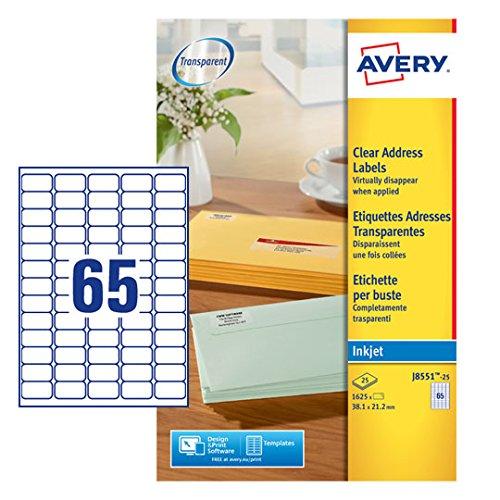 Avery Mini-Etiketten (für Tintenstrahldrucker) transparent