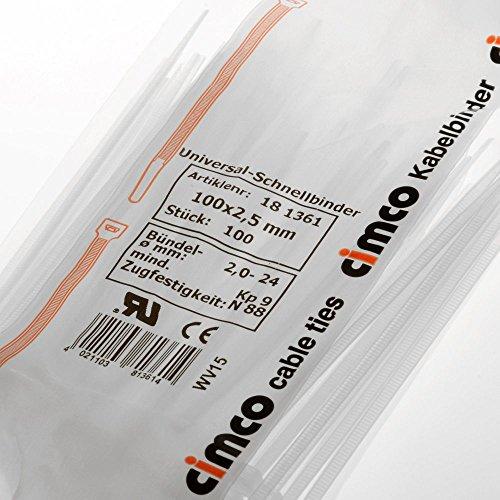Cimco 181361 18 1361 Kabelbinder 100 x 2.5 Natur, Weiß