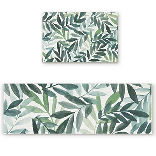 Z&L Home Watercolor Fresh Green Leaves Kitchen Rug Sets 2 Piece Floor Mat Non-Slip Rubber Backing Area Runners Door Mats, Natural Plant Indoor Washable Carpet