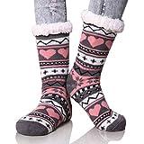 Dosoni Women's Winter Snowflake Fleece Lining Knit Thick Warm Christmas Slipper Socks (Gray/Pink)