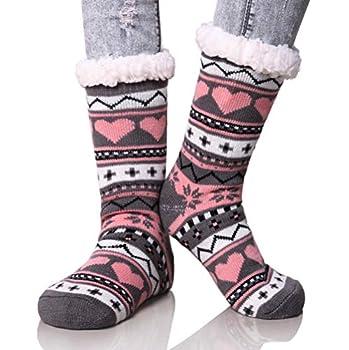 Dosoni Women s Winter Snowflake Fleece Lining Knit Thick Warm Christmas Slipper Socks  Gray/Pink