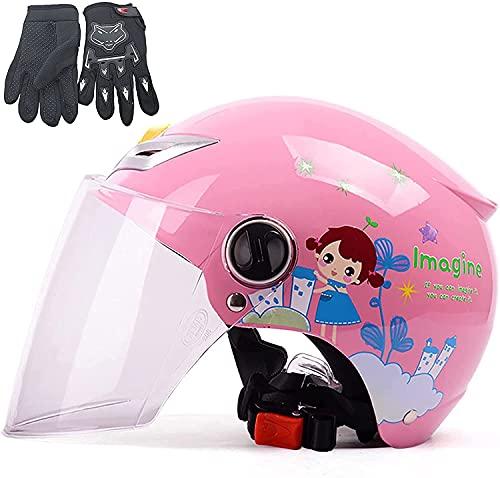 TYSJL Casco de Motocicleta para niños, niños Motorbike Ciclo Casco Casco Scooter Scooter Adecuado Casco de Bicicleta eléctrica con Guante para niñas niñas de 3 a 12 años, Amarillo, a