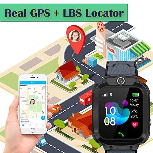 Kinder GPS Intelligente Uhr Wasserdicht, Smartwatch GPS Tracker mit Kinder SOS Handy Touchscreen Spiel Kamera Voice Chat Wecker für Jungen Mädchen Student Geschenk (S12 GPS Schwarz)