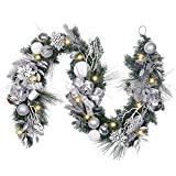 Valery Madelyn Pre-Lit 72 Inch Frozen Winter Silver White Christmas Garland with Shatterproof Ball Ornaments, Snowflakes, Pine Cones, Ribbons and Flowers, Battery Operated 20 LED Lights