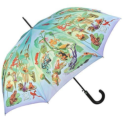 VON LILIENFELD Regenschirm Automatik Damen Motiv Froschfamilie