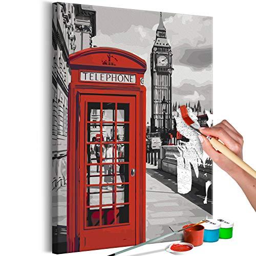 murando - Malen nach Zahlen London Telefonzelle 40x60 cm Malset mit Holzrahmen auf Leinwand für Erwachsene Kinder Gemälde Handgemalt Kit DIY Geschenk Dekoration n-A-0721-d-a