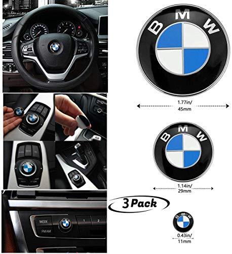 3 Stück DIY BMW Lenkrad Emblem Aufkleber, BMW Multimedia Center Button Drive Controller Aufkleber, BMW Radio Button Aufkleber, für BMW Dekoration Kombination