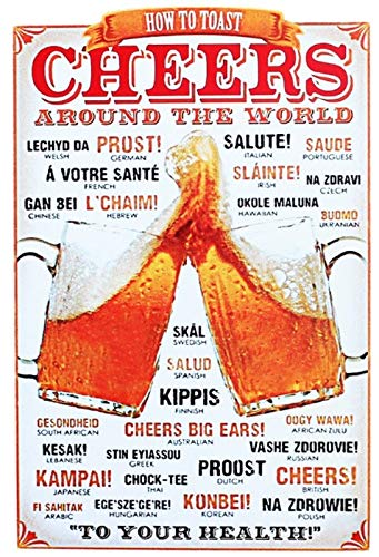 Generisch blikken bord 20x30cm Cheers Around The World Prost Bier Salute Skol metalen bord