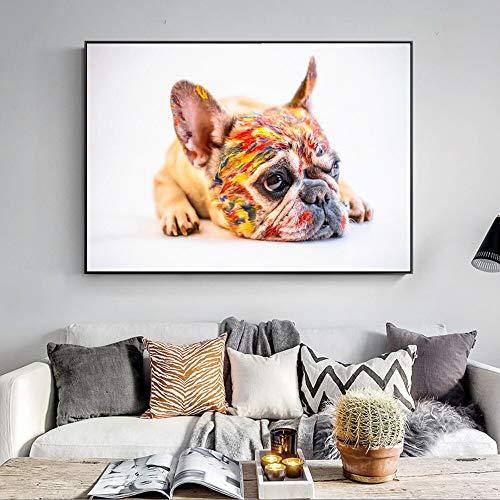 KWzEQ Bulldog francés Arte de la Pared Cartel Realista Familia Mascota Perro Lienzo Grabador Lienzo Impresión-Frameless painting50X75cm