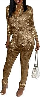 2ba51f452e44 Aleng Women's Sexy V Neck Glitter Long Sleeve Zipper Drawstring Bodycon  High Waisted One Piece Jumpsuits