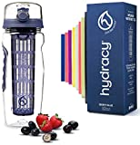 Hydracy Fruit Infuser Water Bottle - 32 oz Sports Bottle - Time Marker & Full Length Infusion Rod + 27 Fruit Infused Water Recipes eBook Gift - Berry Blue