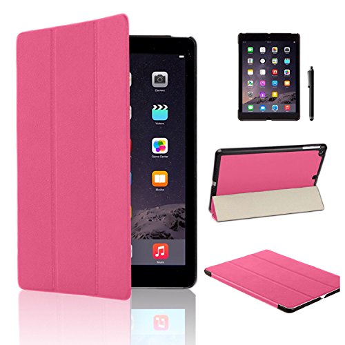 MOFRED Pink Ultra Slim New Apple iPad Air 2 (Launched Oct. 2014) Leather Case Cover, Full Protection Smart Cover for iPad Air 2 iPad 6th Generation With Magnetic Auto Wake & Sleep Function + Screen Protector + Stylus Pen (Pink)