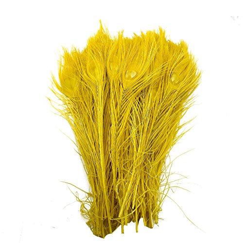 72pcs/lot al por mayor para bodas y decoración de plumas de pavo real Vintage Party decorativa penacho About 9.7-11.7 inches amarillo
