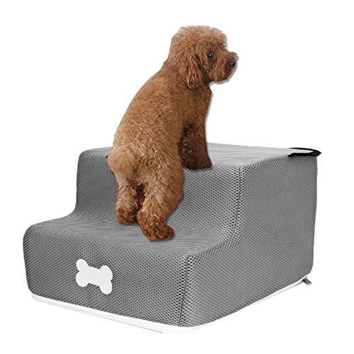 xingling Escaleras para Mascotas, Perros, Gatos Escalones portátiles, Malla de Esponja Transpirable y Ligera Escalera de Escalada para Animales de 2 Capas Escaleras de Acceso para Mascotas 35x30x20cm