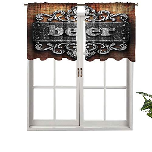 Hiiiman Cortinas cortas y elegantes con bolsillo para barra y texto en inglés 'Cerveza en el interior', juego de 1, 132 x 45 cm, decoración para cuarto de baño/dormitorio/sala de estar
