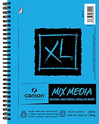 """Canson XL Series Mix Media Pad, 5.5"""" x 8.5"""", Side Wire Bound, 60 Sheets (400037134)"""