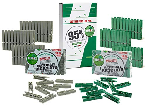 remake 80 Piezas - Pinzas Ropa Ecológico 95% con Plastico Reciclado, Talla Grande. Fuertes y a Prueba de Viento. Made in Italy. Color Verde y Gris