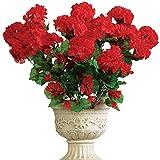 yueyue947 / Cespuglio Floreale di Geranio Artificiale, Set di 3 - Fiori Artificiali esenti da Manutenzione per Esposizione Interna o Esterna, Utilizzare 3 mazzi o combinare Tutti 3, Rosso