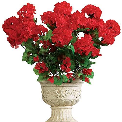 yueyue947 / Arbusto Floral de Geranio Artificial, Juego de 3 - Flores Artificiales sin Mantenimiento para la exhibición Interior o Exterior, Use 3 Ramos por Separado o Combine los 3, Rojo