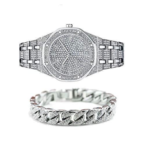 Jacklin-F Unisex Bling-ed out Round Reloj para Hombre Reloj de Diamante Reloj de Hip Hop con a Juego 7.87'/ 20cm Helado Pulsera Cubana de Plata-Oro Disponible