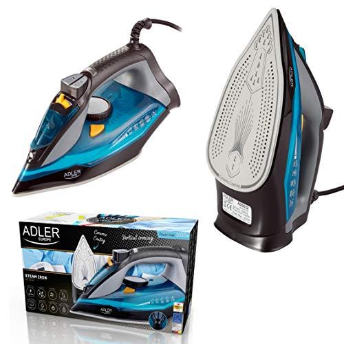 Adler AD5032 Plancha de Vapor 3000W, Suela cerámica, Vertical, Planchado en Seco, Apagado Automático, Autolimpiable, Filtro Antical, Antigoteo, 3000 W, 350 milliliters, Azul