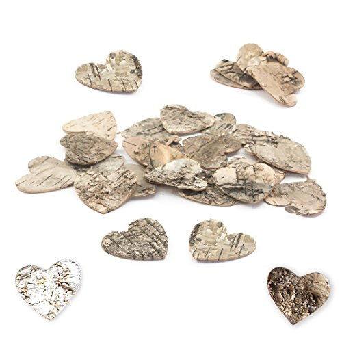 Oblique-Unique Pack of 80 Birch Hearts 5 cm Hearts Made of Birch Bark Decorative Hearts Table Decoration Scatter Hearts Wedding Wooden Confetti Hearts