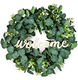 Eucalyptus Wreath | Spring Wreaths for Front Door Outside | Realistic Front Door Wreaths | Spring Wreath | Front Door Decor | Farmhouse Wreath | Green Wreath | Outdoor Wreath | Large Wreath