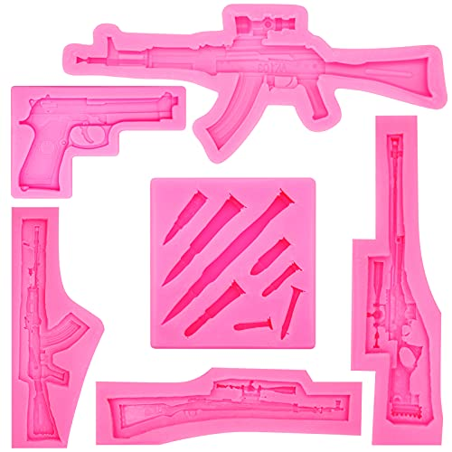 Rainmae Mini Machine Gun Silicone Molds Pistol Shaped Silicone Baking Molds Cupcake Topper Fondant Cake Decor Tools for Making Cake, Chocolate, Candy, Polymer Clay, Crafting, Jewelry Making