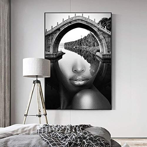 Yulernka Abstract Portrait with Landscape Wall Art Canvas Painting Posters and Prints Wall Art Pictures for Living Room Decor 30x45cm