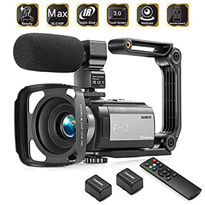 Camcorder Video Vlogging HD Camera HAOHUNT 36MP 1080P Digital Recorder, 16X Digital Zoom 3 Inch Touch Screen Camcorder with Rechargeable External Microphone, Remote Control, Stabilizer, 2 Batteries by HAOHUNT