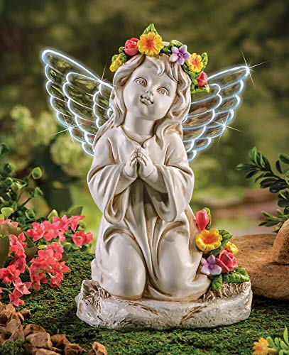 Kneeling Solar Angel Symbol Of Hope - Kneeling Angel Statue And Figurines For Home Decor - Durable And Long Lasting Solar Powered Angel Sculpture