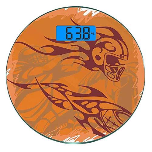 Digitale Präzisionswaage für das Körpergewicht Runde Sport Ultra dünne ausgeglichenes Glas-Badezimmerwaage-genaue Gewichts-Maße,Tribal Ethnic Patterns inspiriert Helm und Ball Distressed Motion Score