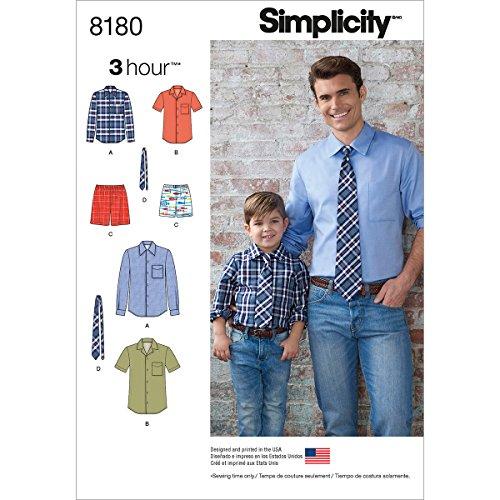 Simplicity patroon 8180 shirt voor jongens en heren, boxer en stropdas, wit