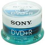 Sony DVD+R (recordable), 16x, con 120 minuti per DVD, confezione da 50...