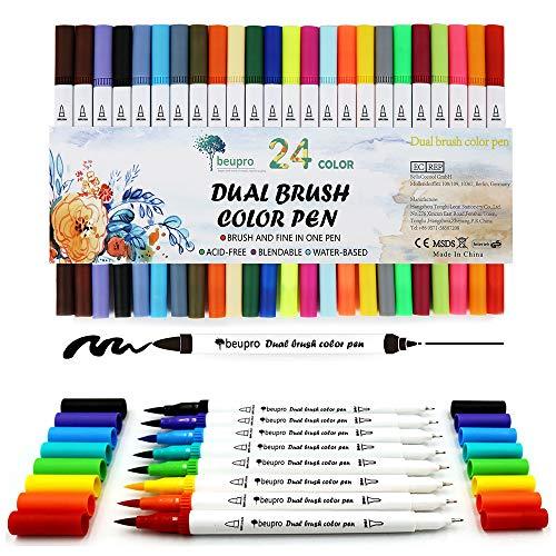 Penseel fineliner pennen, Beupro Bullet Journal Watercolor Brush Art Markers Pennen Kleurplaten Fineliner Water Kleur Tekening Pennen-24 stks