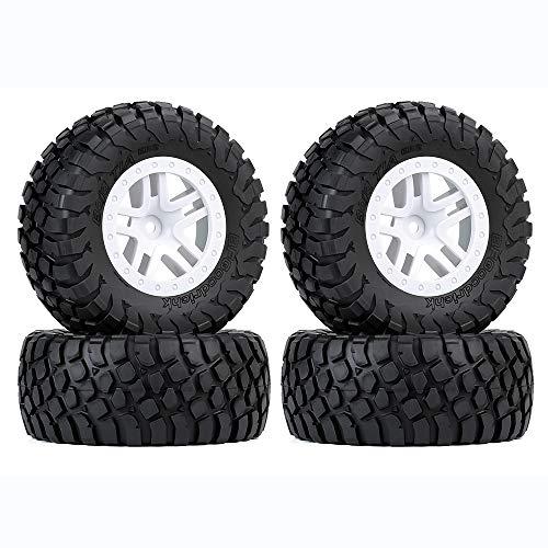 Boliduo 4PCS 115mm Tires and Wheels Rims for 1/10 RC Short Course Truck Traxxas Slash VKAR 10SC HPI RC Car Parts (White A)