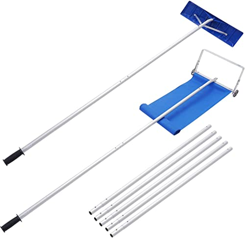 JOSTYLE Roof Snow Rake Removal Tool with 2 Cutting Blade Reach to 24Feet, Upgraded Dual Conversion Head Snow Rake for...