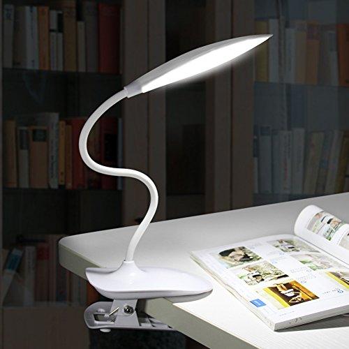 LightsGoal Foglia LED Lampada da scrivania, Big clip Lampade da tavolo, stepless oscuramento Eye lampada di cura, USB Portatile Prenota Luci per la lettura, di studio, di lavoro, Dormire (bianca)