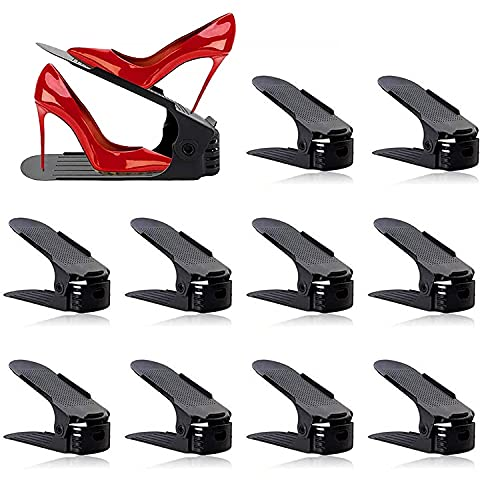 BIGLUFU Set de 10 pcsOrganizadores de Zapatos ,Soporte de Calzado de Ajustable,Adecuada para Mujeres y Hombres, Para ahorrar espacio, (Blanco)
