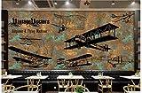 Fotomurales Óxido de avión dibujado a mano vintage Papel pintado tejido no tejido Decoración de Pared decorativos Murales moderna de Diseno Sala comedor TV fondo pared 350 x 256 cm