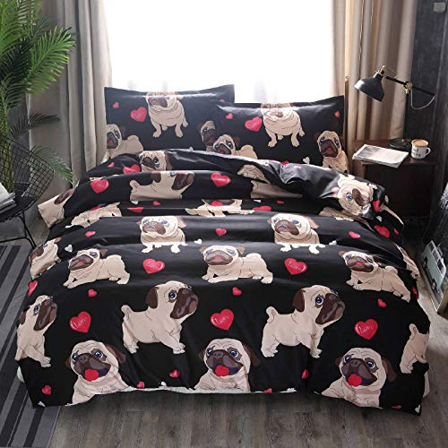 Lzcaure Juego de edredón de 3 piezas de ropa de cama de impresión de funda de edredón para edredón de fácil cuidado de tamaño completo