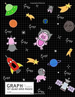 """Graph Paper Notebook: Emma Space Pigs & Rockets Math Science Lab Notes with 1/4"""" Quad Grid Graph Paper Sheets: Personalized Emma Composition Book Quad ... Books for Class Assignments & Projects)"""