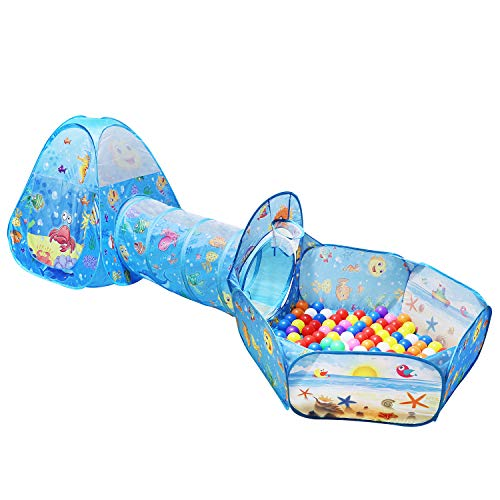 KMiKE Play Tent with Tunnel and Ball Pit Playhouse for Kids Girls Boys Tent Castle for Indoor and Outdoor(Not Included Ball)