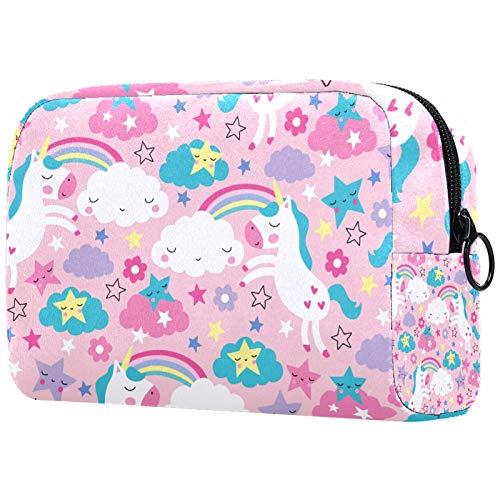 Kosmetiktaschen für Frauen, Schminktaschen Geräumige Kulturbeutel Reiseaccessoires Geschenke - Pink Unicorn Pattern