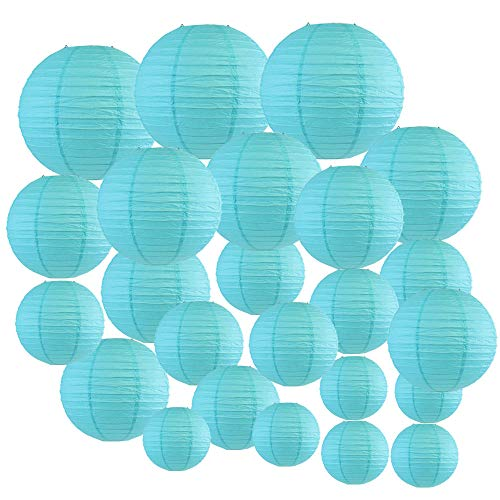 Just Artifacts Decorative Round Chinese Paper Lanterns 24pcs Assorted Sizes (Color: Turquoise)
