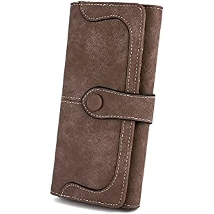 "UTO Women Vegan Leather 18 Card Slots Card Holder Long Bifold Checkbook 5.5"" Phone Wallet Coffee"