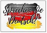 Letras con forma de bandera alemana. ¿Hablas alemán? Imán para nevera con texto en inglés'Translation'