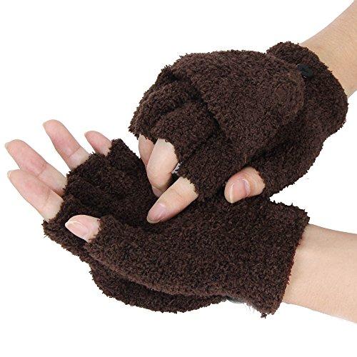 TUDUZ Winter Handschuhe Fingerlose Fäustlinge Damen Fingerhandschuhe Touchscreen Halb Handschuhe Strick Handschuhe mit Flip Top